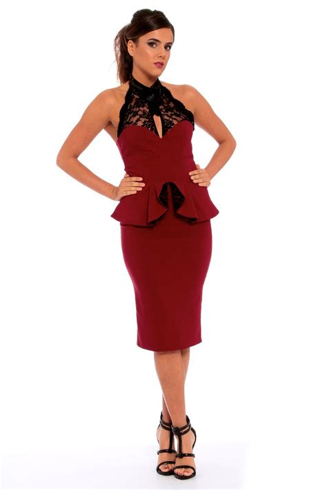 Dress Rubby midi dress with black lace halterneck ruby