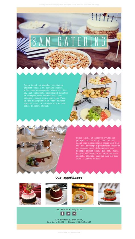 catering email template free email templates design catering appetizers