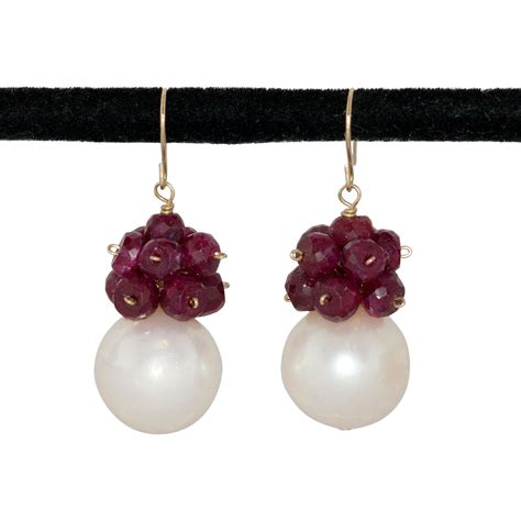 pretty 14k ruby pearl earrings from