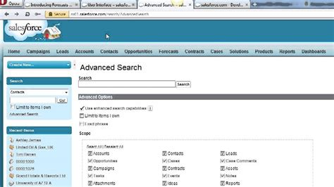 Can You Search For On Salesforce Sidebar Search Global Search Advanced Search In Salesforce