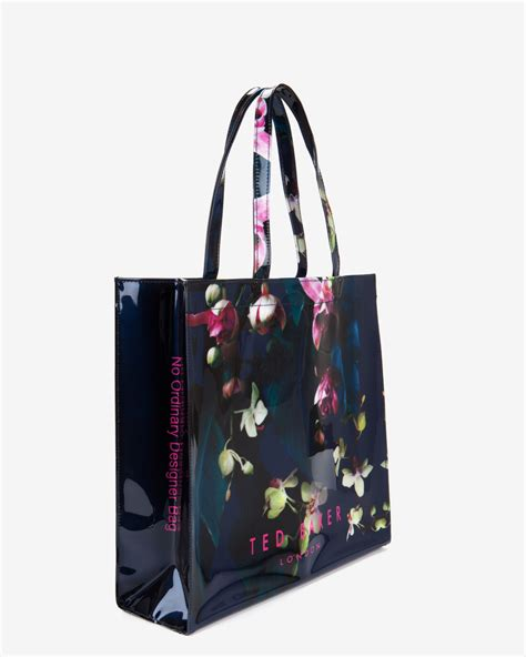 Floral Shopper Bag ted baker large fuchsia floral shopper bag in blue lyst