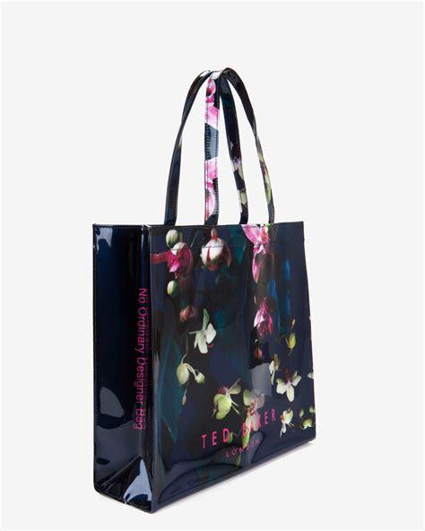 Floral Shopper Bag ted baker large fuchsia floral shopper bag in blue lyst