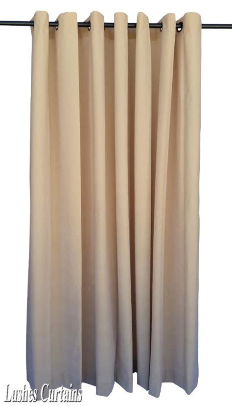 Beige 72 Inch Long Velvet Curtain Panel W Ring Grommet Top