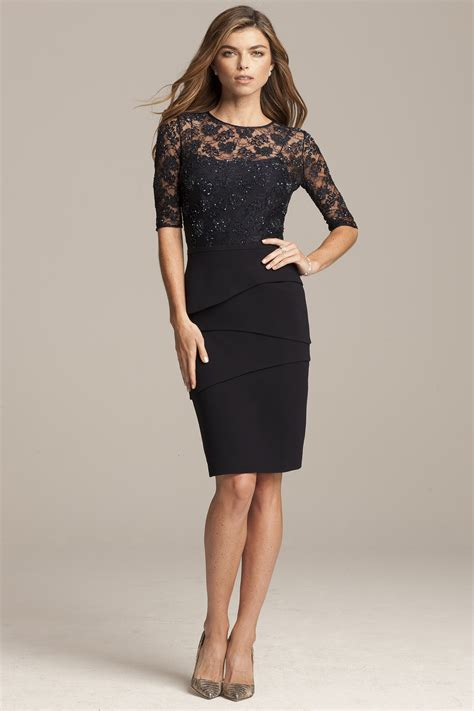 sleeve cocktail dress 3 4 sleeve navy cocktail dress with beaded lace top teri jon