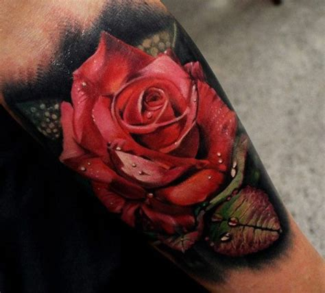 tattoo real flower real rose with drops tattoo
