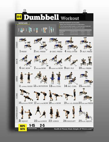 dumbbell back exercises no bench dumbbell workouts poster for men to build muscles lose fat
