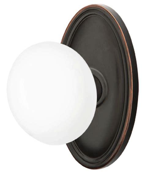 Porcelain Door Knob Sets by Emtek White Porcelain Door Knob Set With Oval Rosette