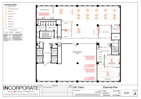 office plan with electrical layout incorporate technical design commercial office fitouts
