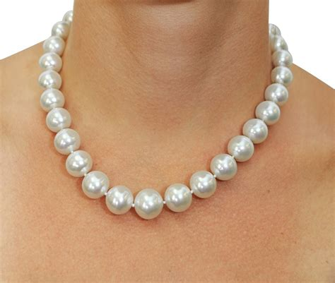 pearls jewelry certified 12 15mm white south sea pearl necklace