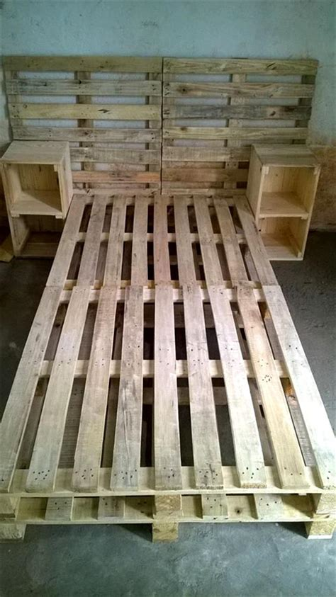 diy simple pallet bed frame pallet bed frame with side tables and headboard 30 easy