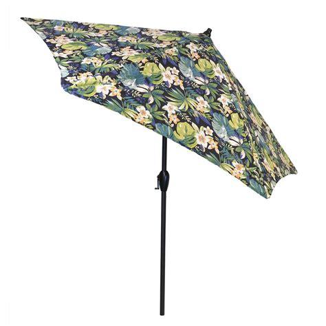 pattern market umbrella hton bay 9 ft aluminum patio umbrella in gray with