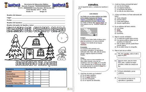 examen del tercer grado del cuarto bloque del ciclo examen del cuarto grado del segundo bloque del ciclo