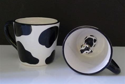 Mug Cow pair of 1998 moo cow mugs cow print with cow inside