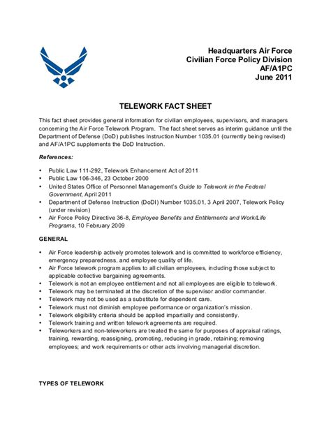 Telework Fact Sheet ?Headquarters Air Force Civilian Force