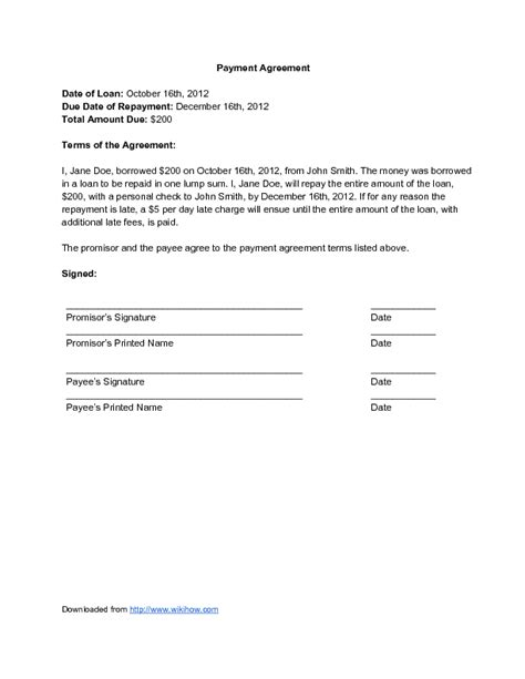 Payment Agreement Letter Sle Loan Repayment Contract Template 28 Images Loan Agreement Form Template Doc 12751650 Loan