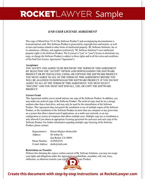User Agreement Template end user license agreement eula template with sle