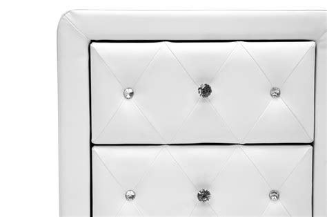 stella crystal tufted white modern bed with upholstered headboard stella crystal tufted white upholstered modern nightstand