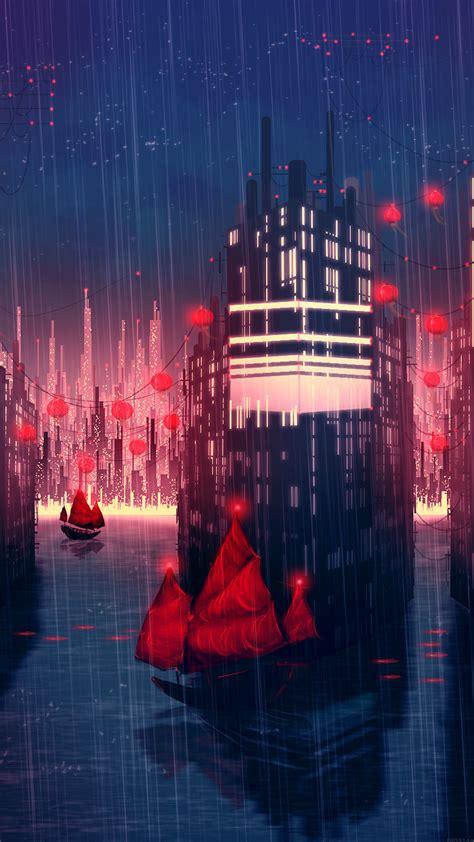 papersco iphone wallpaper aj rainy anime city art
