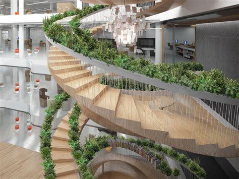 nature et d馗ouverte si鑒e social l escalier vivant quand la nature s empare de l architecture