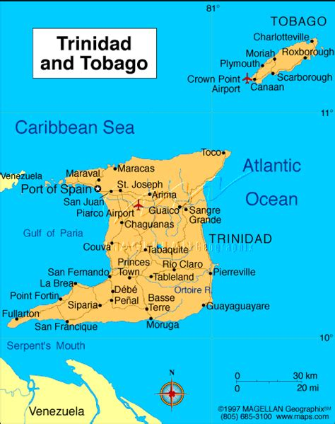 and tobago map map of and tobago and tobago
