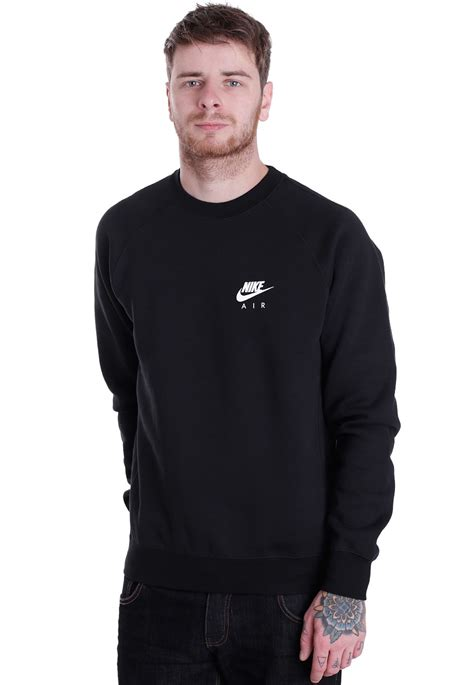 Sweater Air nike crew fleece air heritage black white sweater