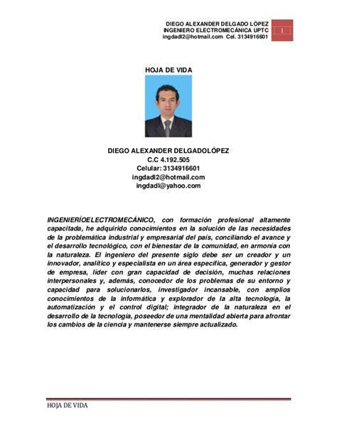 Ejemplo De Curriculum Hoja De Vida 10 11 2012 Hoja De Vida Ing Diego Delgado