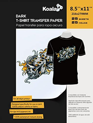 inkjet iron on transfer paper amazon koala inkjet iron on dark t shirt transfer paper 25 sheets