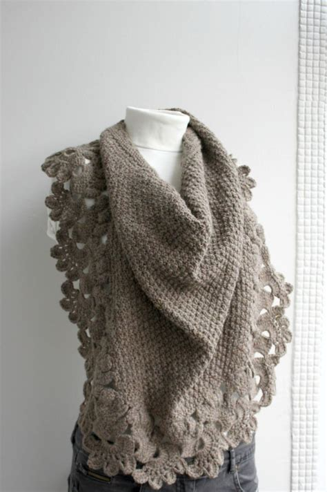 brown pattern scarf free shipping brown capelet shawl gift under 75 75 00