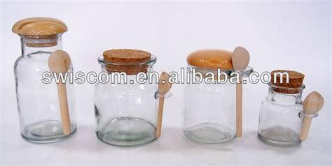 Tutup Canister cylinder kaca jar canister dengan tutup kayu sendok