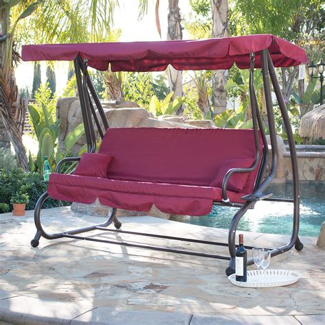 Swing Bed With Canopy Outdoor Swing Bed Patio Adjustable Canopy Deck Porch Seat Chair W 2 Pillow Ebay
