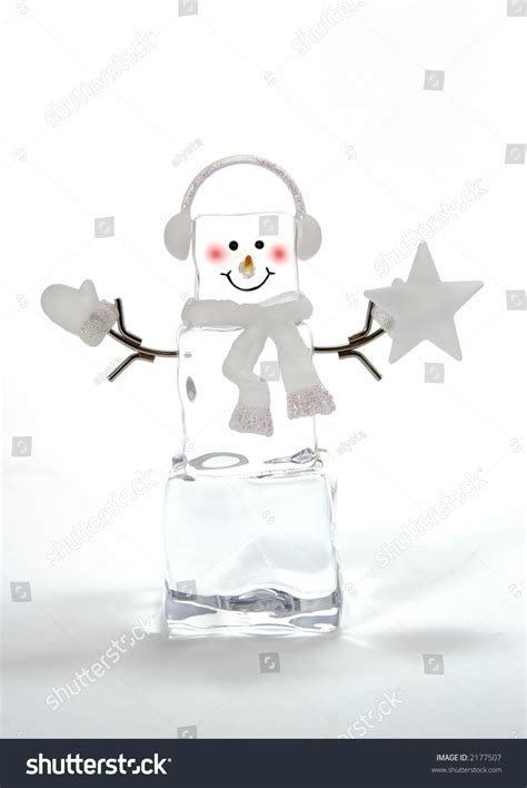 ice cube christmas tree cube snowman tree decoration stock photo 2177507