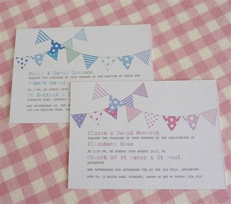 design invitation for christening bunting personalised christening invitations by little