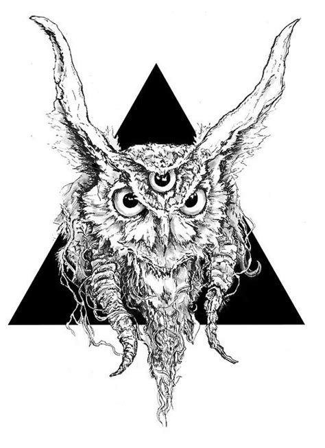 owl tattoo third eye greater horned third eye owl triangle illustration