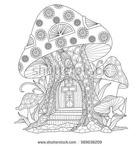 mushroom house coloring page mushroom house zentangle stylized cartoon isolated on