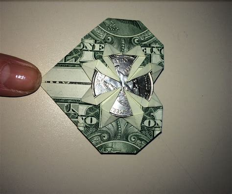 Money Origami With Quarter - dollar origami holding quarter 4