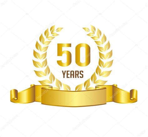 50 years anniversary golden golden 50 years anniversary with laurel wreath ribbon