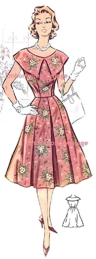diamond pattern vintage blue dress plus size or any size vintage 1950s dress pattern pdf