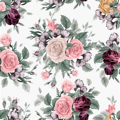 download pattern rose retro beautiful roses vector seamless pattern 04 vector