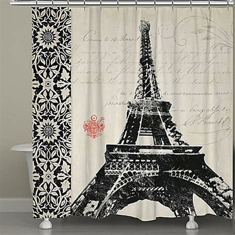 eiffel tower shower curtains buy laural home 174 eiffel tower border shower curtain from