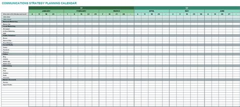 strategic planning calendar template free communication strategy templates and sles smartsheet