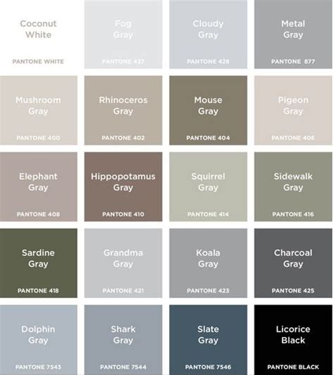 shades of the color grey colour names grey google search colour pinterest