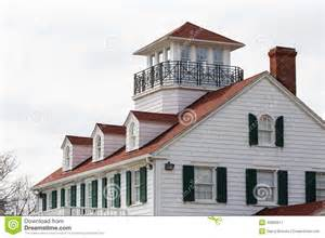 Coastal House Plans Coastal House With Dormers And Widows Walk Stock Photo