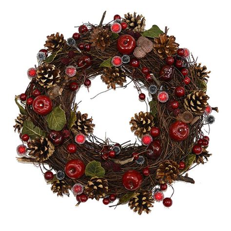 christmas wreath vine pine berry apple the