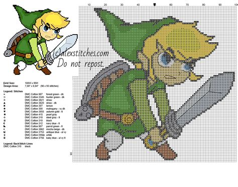 zelda cross stitch pattern link children with a sword character form the legend of