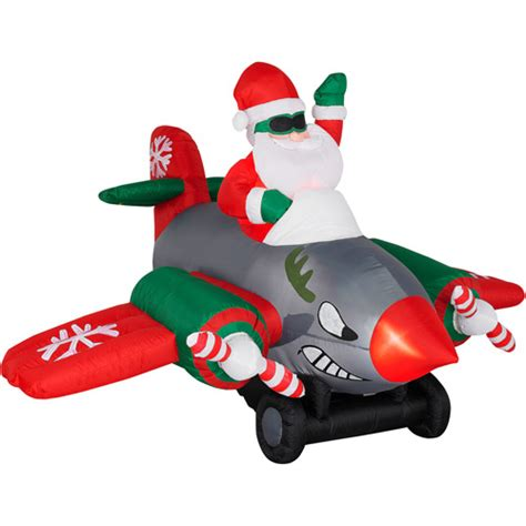 animated inflatables animated airblown santa in prop airplane