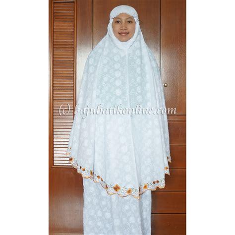 Mukena Bordir Soft Cotton white orange embroidery telekung baju batik