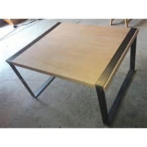 table basse acier bois massif design artisanat stoll