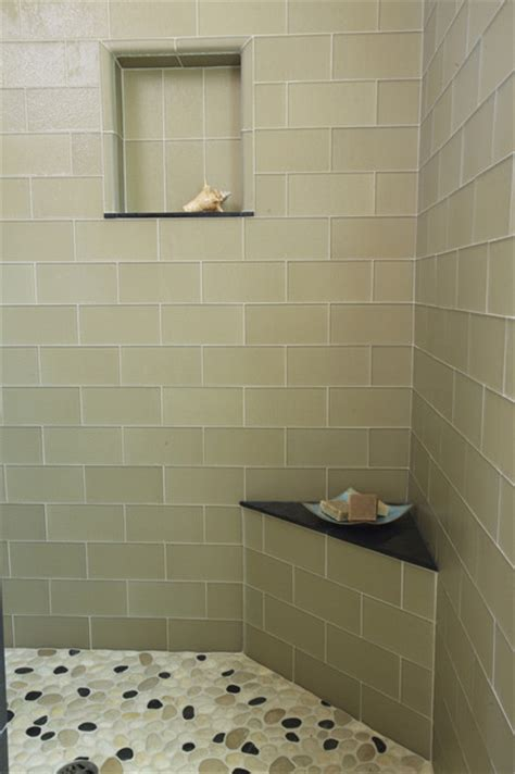 Houzz Modern Bathroom Tile Island Rectangular Glass With Pebble Floor