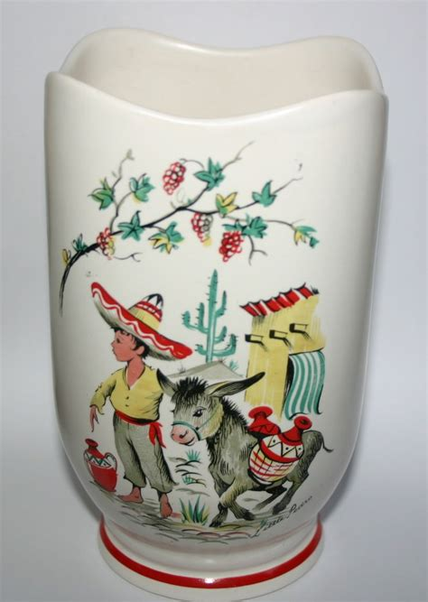 Crown Ducal Ware Vase by Vintage Crown Ducal Ware Pottery Vase Mexican Boy And