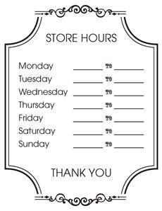 Free Printable Store Hours Sign Creative Center Thanksgiving Business Hours Template